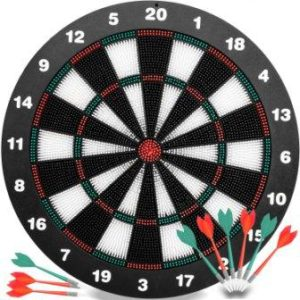Safety Darts and Kids Dart Board Set - 16 Inch Rubber Dart Board with 9 Soft Tip Darts for Children and Adults