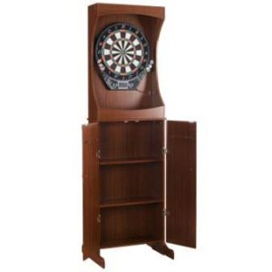 Hathaway Outlaw Free Standing Dartboard and Cabinet Set, Cherry Finish