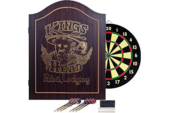 TG King's Head Dark Wood Dartboard Cabinet Set
